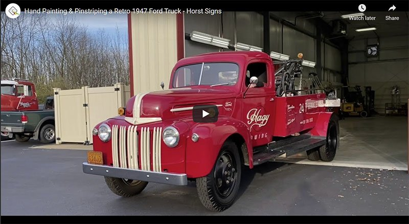 Hand Painting & Pinstriping a Retro 1947 Ford Truck - Horst Signs